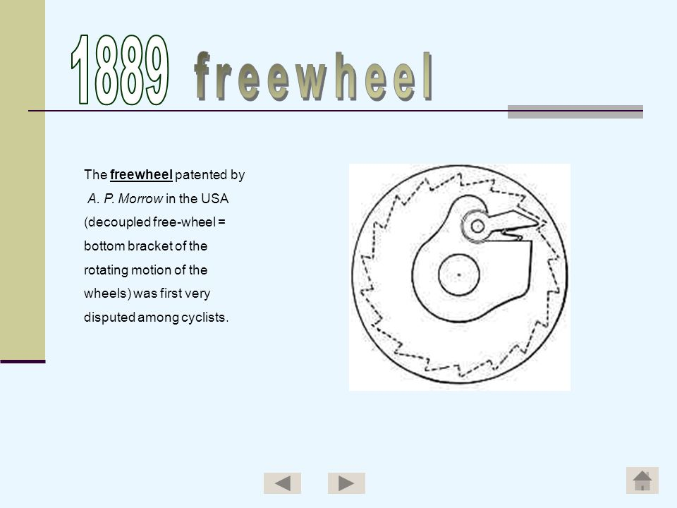 The freewheel patented by A. P. Morrow in the USA (decoupled free-wheel = bottom bracket of the rotating motion of the wheels) was first very disputed