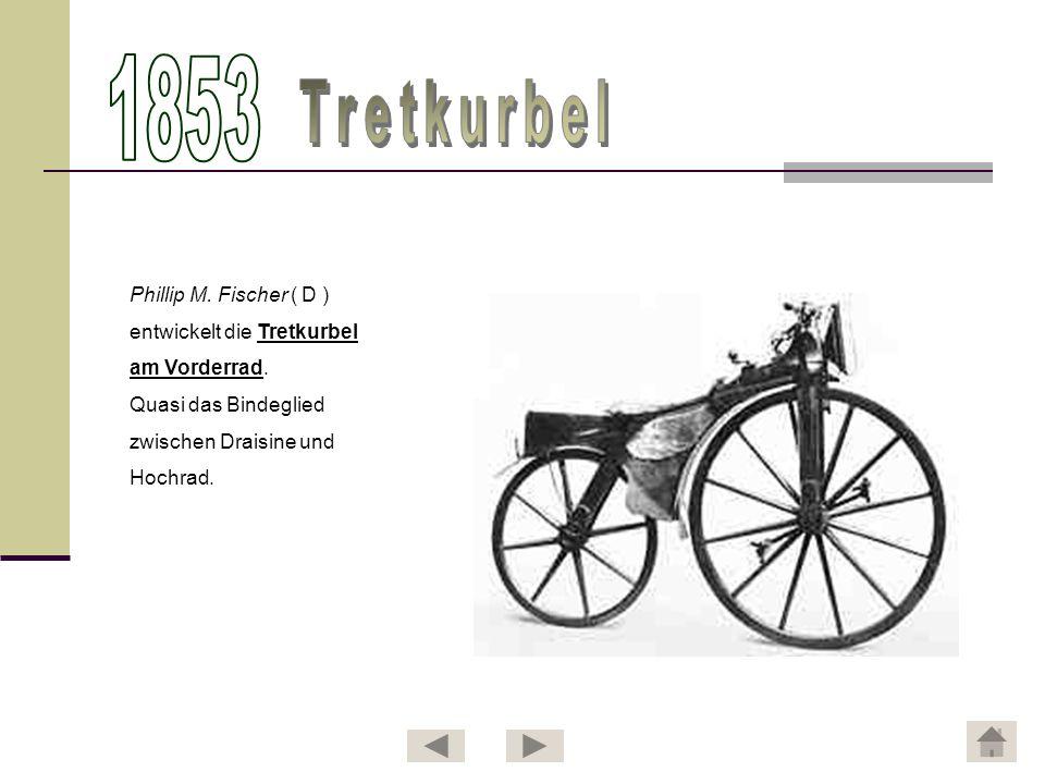 Phillip M. Fischer ( D ) entwickelt die Tretkurbel am Vorderrad. Quasi das Bindeglied zwischen Draisine und Hochrad.