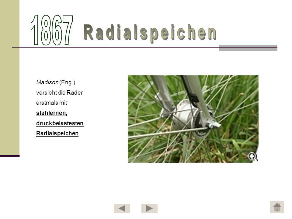 Johann Freidrich Trefz konstruiert eine verbesserte Version des Hinterrad- Tretkurbelantriebs.