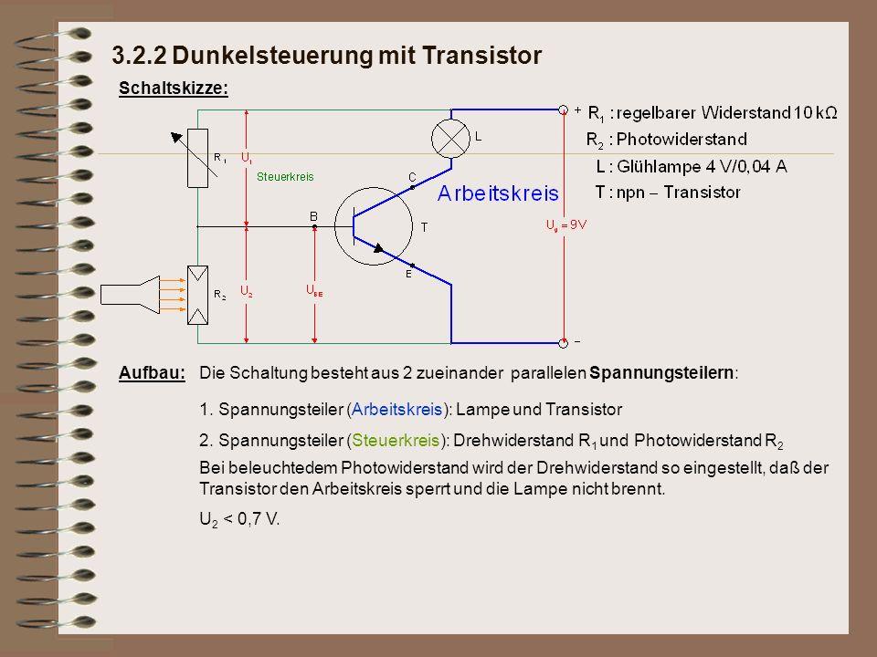 Schaltskizze: Aufbau:Die Schaltung besteht aus 2 zueinander parallelen Spannungsteilern: Bei beleuchtedem Photowiderstand wird der Drehwiderstand so e