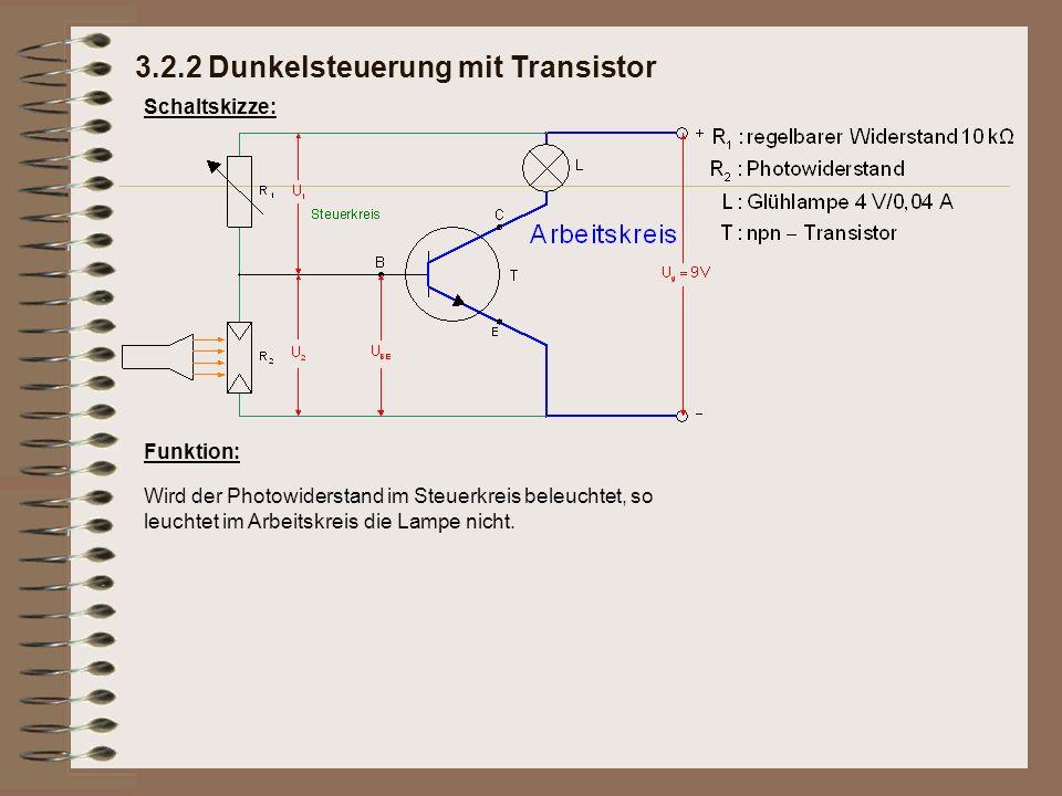Erklärung: Photowiderstand und Drehwiderstand teilen sich die Spannung von 9 V im Verhältnis ihrer Widerstandswerte.