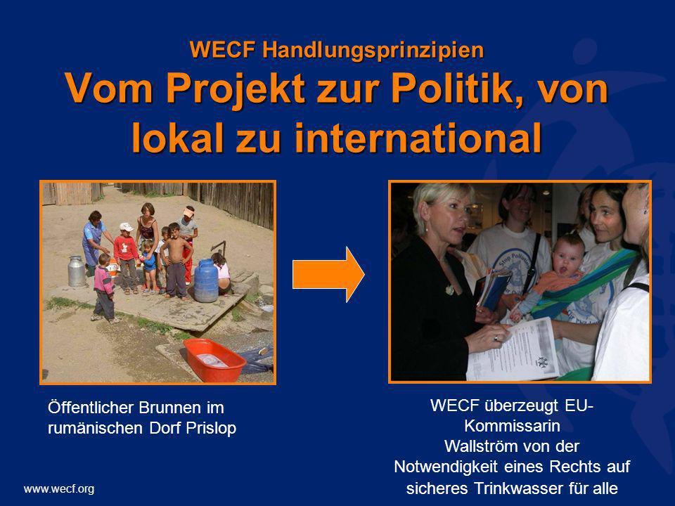 www.wecf.org WECF Handlungsprinzipien Vom Projekt zur Politik, von lokal zu international Öffentlicher Brunnen im rumänischen Dorf Prislop WECF überze