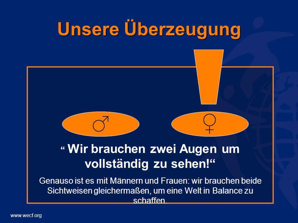 www.wecf.org Unsere Überzeugung Wir brauchen zwei Augen um vollständig zu sehen! Genauso ist es mit Männern und Frauen: wir brauchen beide Sichtweisen