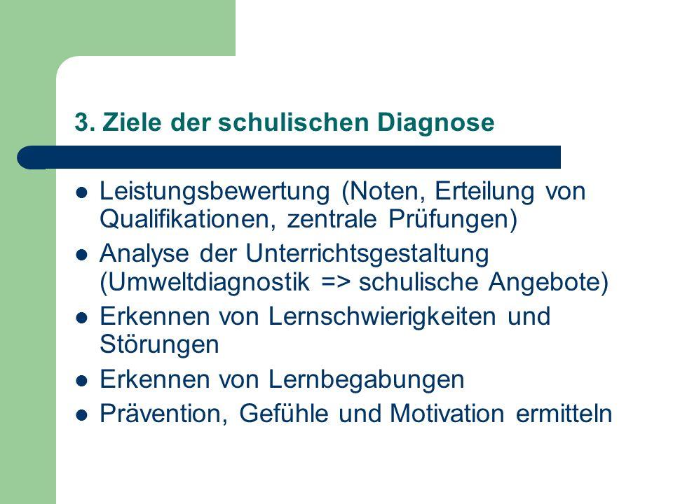 3. Ziele der schulischen Diagnose Leistungsbewertung (Noten, Erteilung von Qualifikationen, zentrale Prüfungen) Analyse der Unterrichtsgestaltung (Umw
