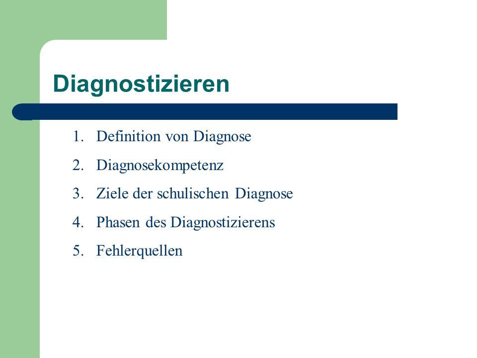 Diagnostizieren 1.Definition von Diagnose 2.Diagnosekompetenz 3.Ziele der schulischen Diagnose 4.Phasen des Diagnostizierens 5.Fehlerquellen