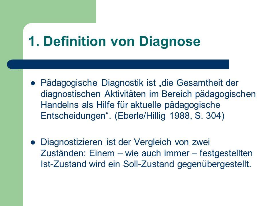 1. Definition von Diagnose Pädagogische Diagnostik ist die Gesamtheit der diagnostischen Aktivitäten im Bereich pädagogischen Handelns als Hilfe für a