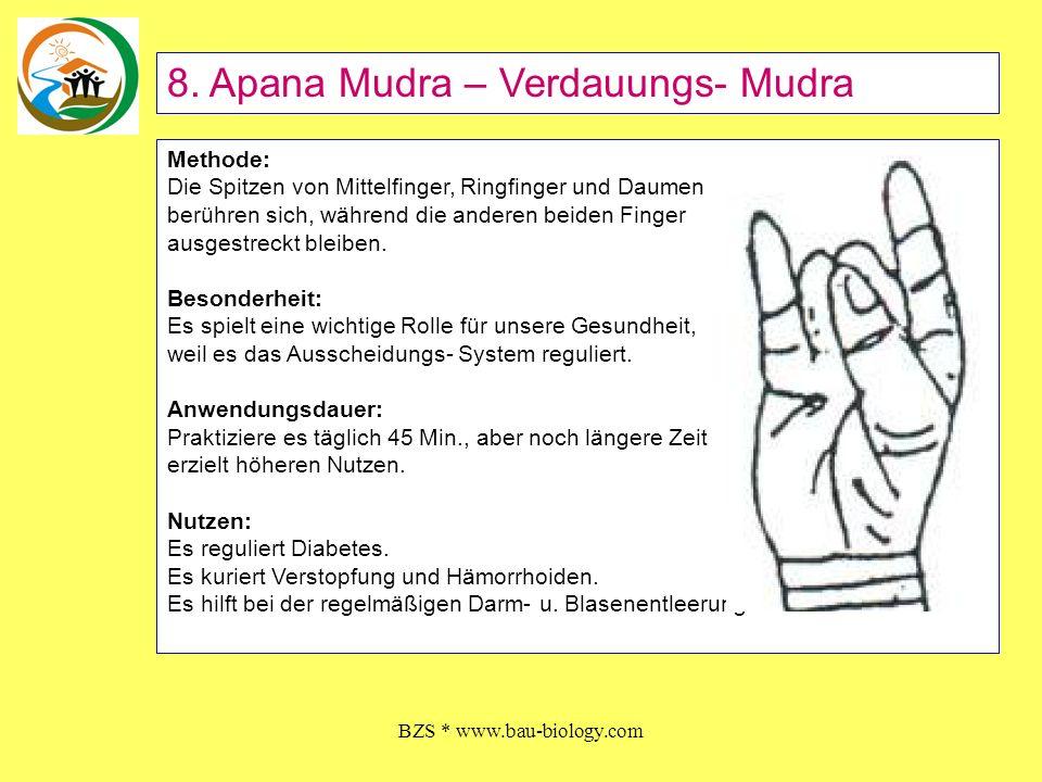 BZS * www.bau-biology.com Methode: Die Spitzen von Mittelfinger, Ringfinger und Daumen berühren sich, während die anderen beiden Finger ausgestreckt b