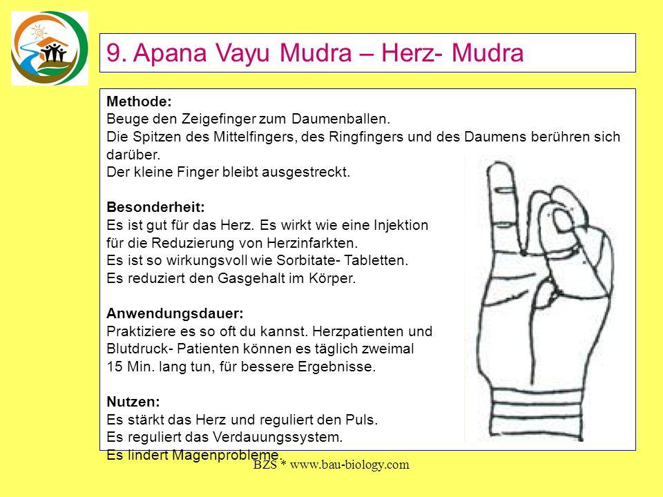 BZS * www.bau-biology.com Methode: Beuge den Zeigefinger zum Daumenballen. Die Spitzen des Mittelfingers, des Ringfingers und des Daumens berühren sic
