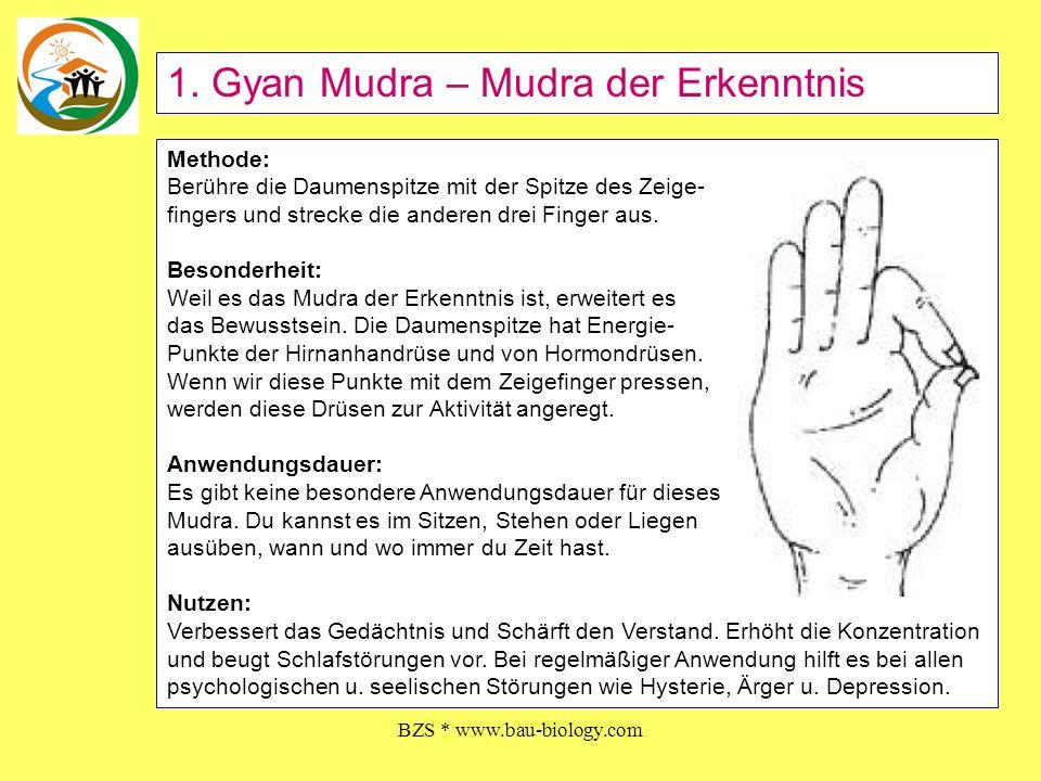 BZS * www.bau-biology.com Methode: Berühre die Daumenspitze mit der Spitze des Zeige- fingers und strecke die anderen drei Finger aus. Besonderheit: W