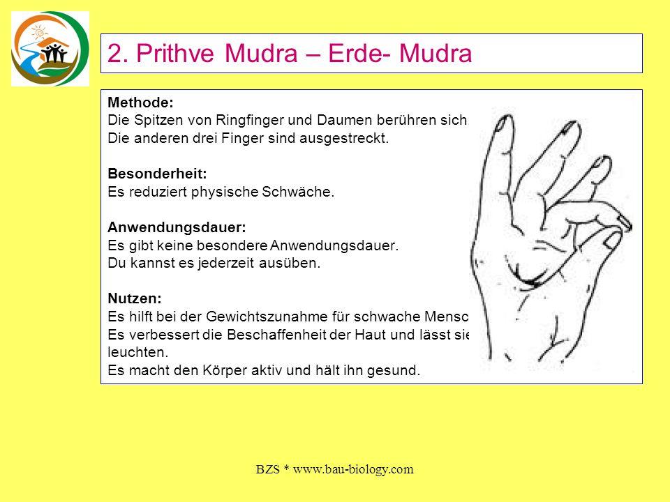 BZS * www.bau-biology.com Methode: Die Spitzen von Ringfinger und Daumen berühren sich. Die anderen drei Finger sind ausgestreckt. Besonderheit: Es re