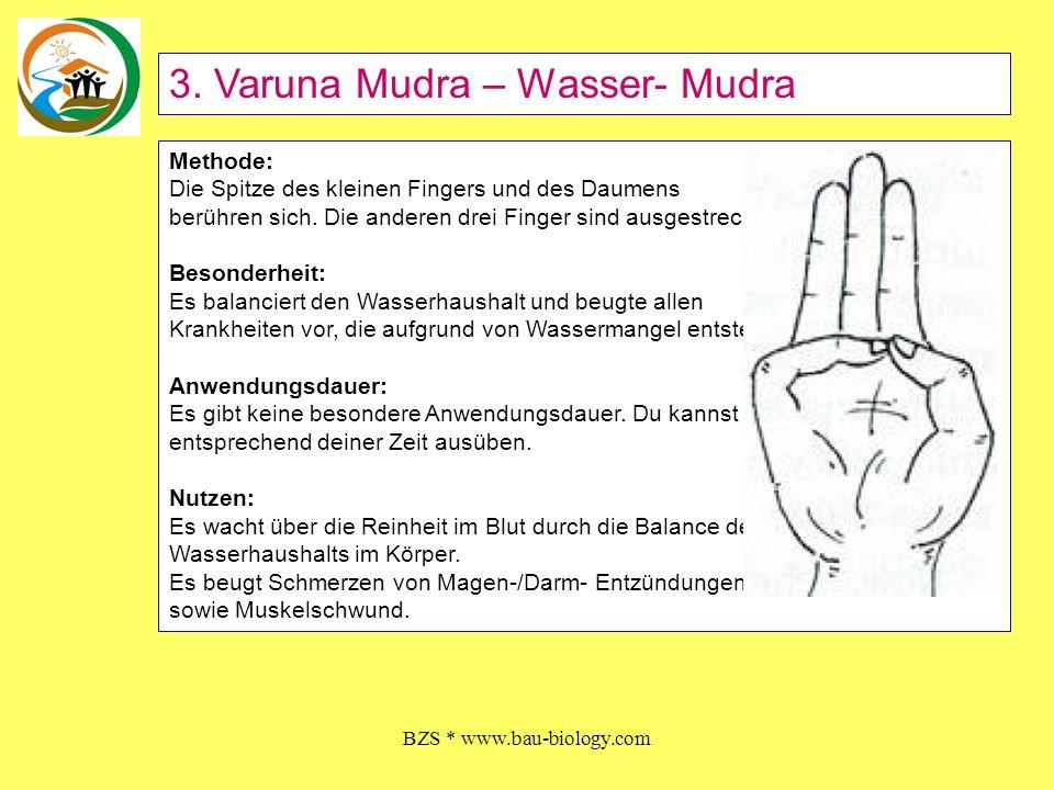 BZS * www.bau-biology.com Methode: Die Spitze des kleinen Fingers und des Daumens berühren sich. Die anderen drei Finger sind ausgestreckt. Besonderhe