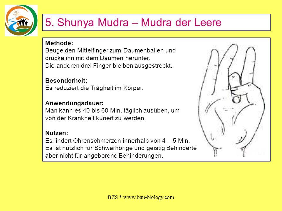 BZS * www.bau-biology.com Methode: Beuge den Mittelfinger zum Daumenballen und drücke ihn mit dem Daumen herunter. Die anderen drei Finger bleiben aus