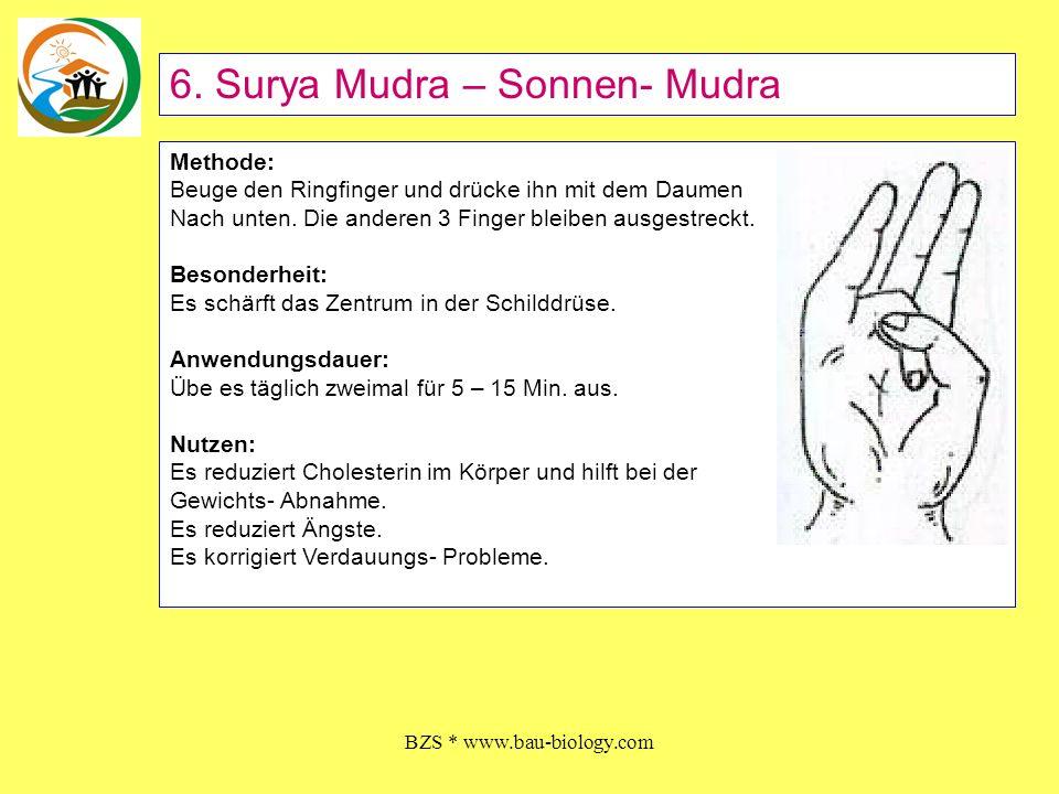 BZS * www.bau-biology.com Methode: Beuge den Ringfinger und drücke ihn mit dem Daumen Nach unten. Die anderen 3 Finger bleiben ausgestreckt. Besonderh