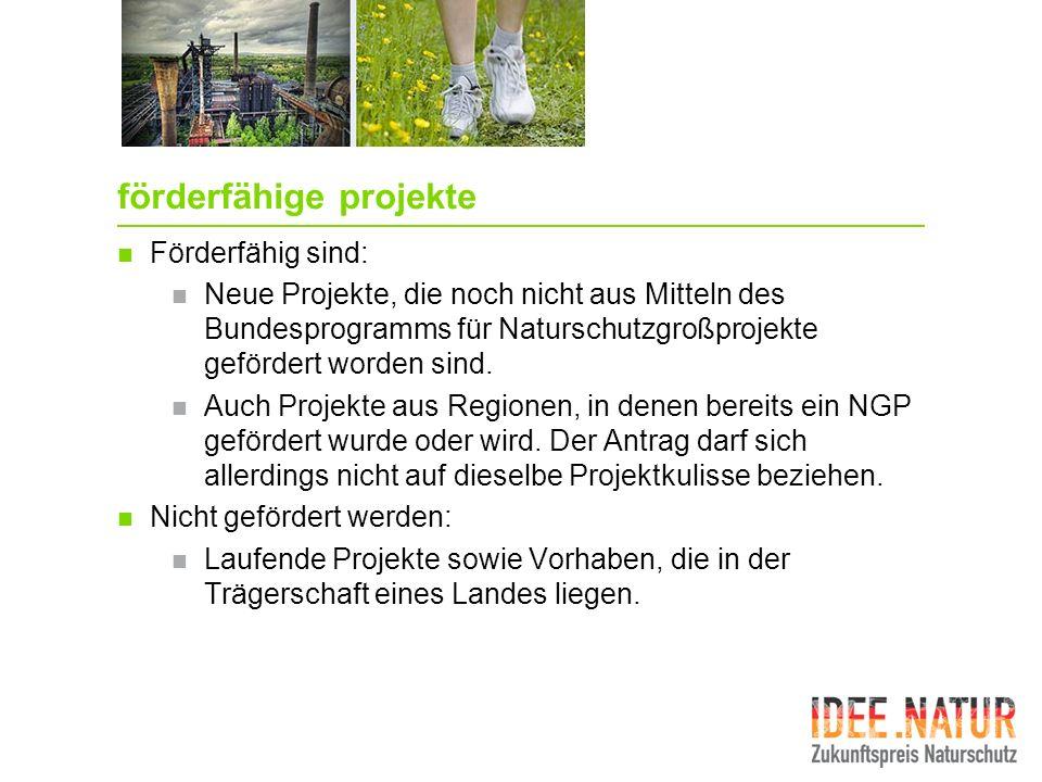 förderfähige projekte Förderfähig sind: Neue Projekte, die noch nicht aus Mitteln des Bundesprogramms für Naturschutzgroßprojekte gefördert worden sin