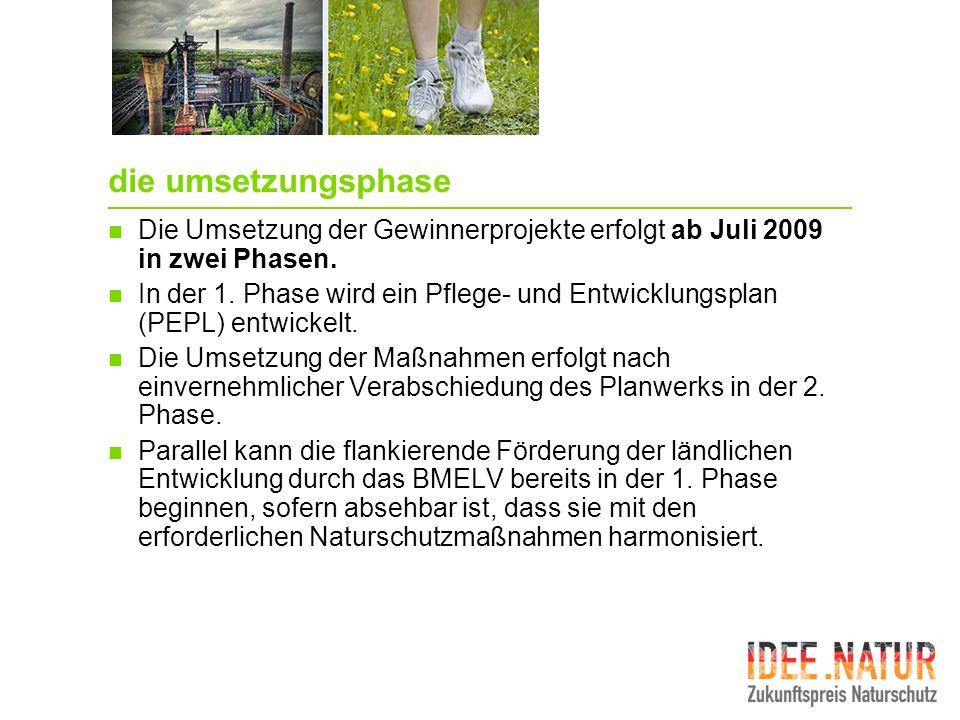 die umsetzungsphase Die Umsetzung der Gewinnerprojekte erfolgt ab Juli 2009 in zwei Phasen. In der 1. Phase wird ein Pflege- und Entwicklungsplan (PEP