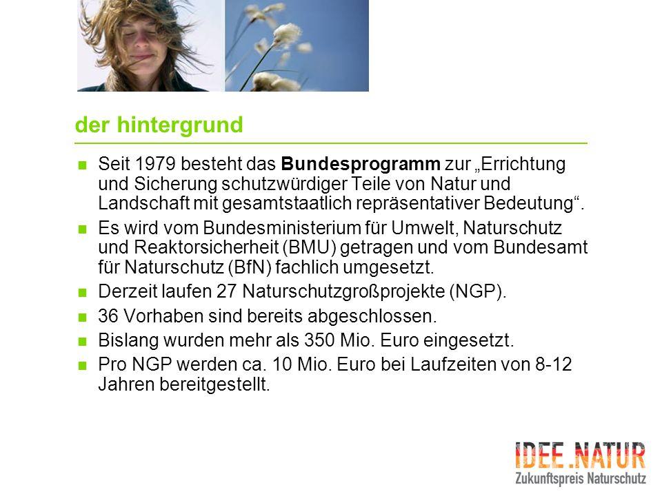 gesamtumfang der förderung Die zehn besten Ideenskizzen werden im Mai 2008 mit jeweils 10.000 Euro vom BMU ausgezeichnet.