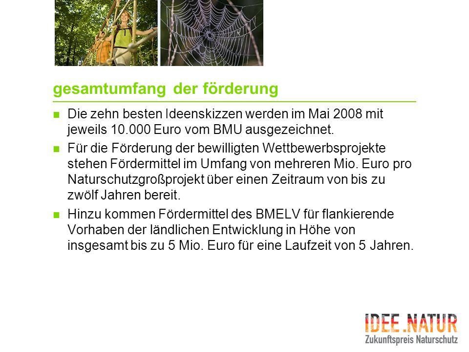 gesamtumfang der förderung Die zehn besten Ideenskizzen werden im Mai 2008 mit jeweils 10.000 Euro vom BMU ausgezeichnet. Für die Förderung der bewill