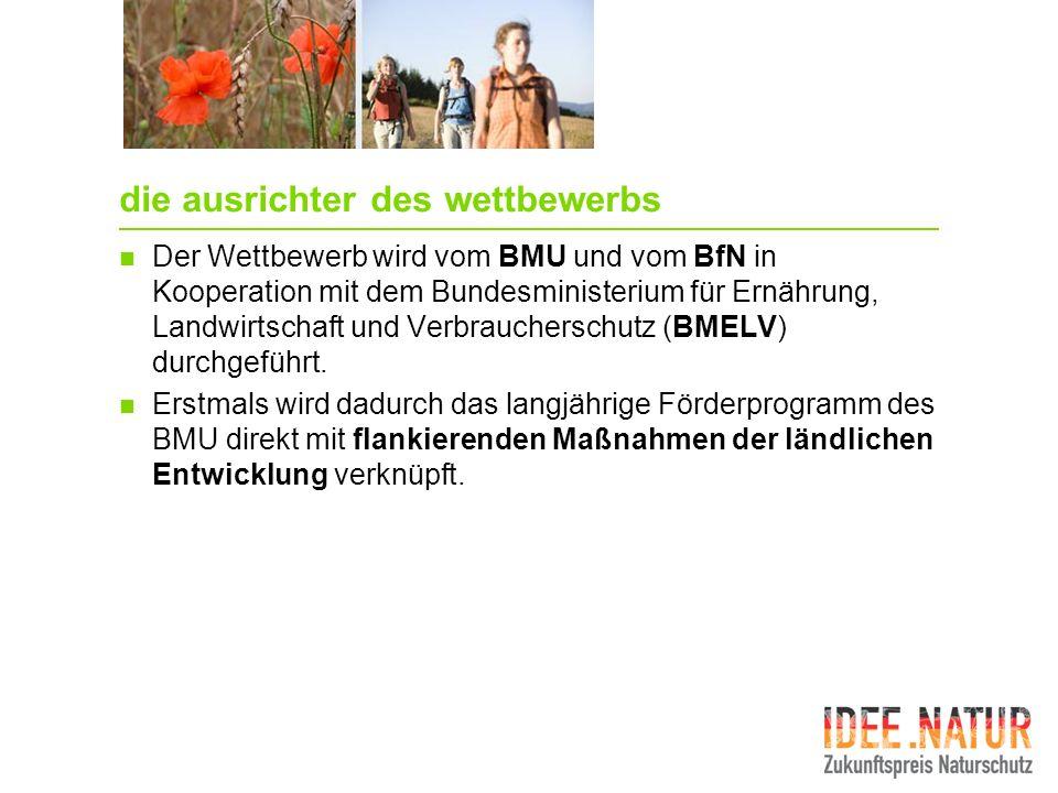 die ausrichter des wettbewerbs Der Wettbewerb wird vom BMU und vom BfN in Kooperation mit dem Bundesministerium für Ernährung, Landwirtschaft und Verb