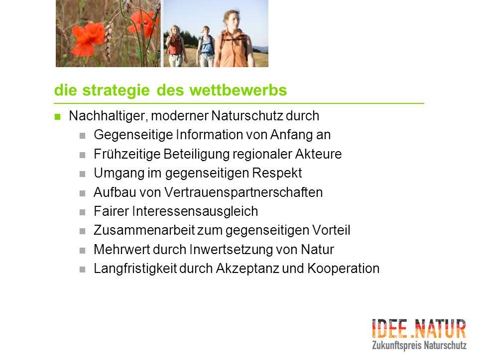 die strategie des wettbewerbs Nachhaltiger, moderner Naturschutz durch Gegenseitige Information von Anfang an Frühzeitige Beteiligung regionaler Akteu