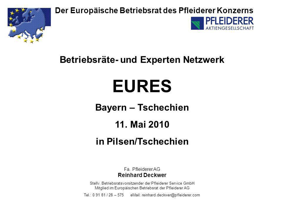 Der Europäische Betriebsrat des Pfleiderer Konzerns Betriebsräte- und Experten Netzwerk EURES Bayern – Tschechien 11. Mai 2010 in Pilsen/Tschechien Fa