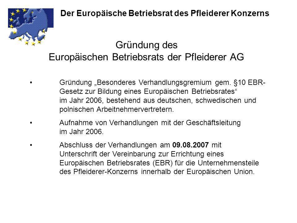 Gründung des Europäischen Betriebsrats der Pfleiderer AG Der Europäische Betriebsrat des Pfleiderer Konzerns Gründung Besonderes Verhandlungsgremium g