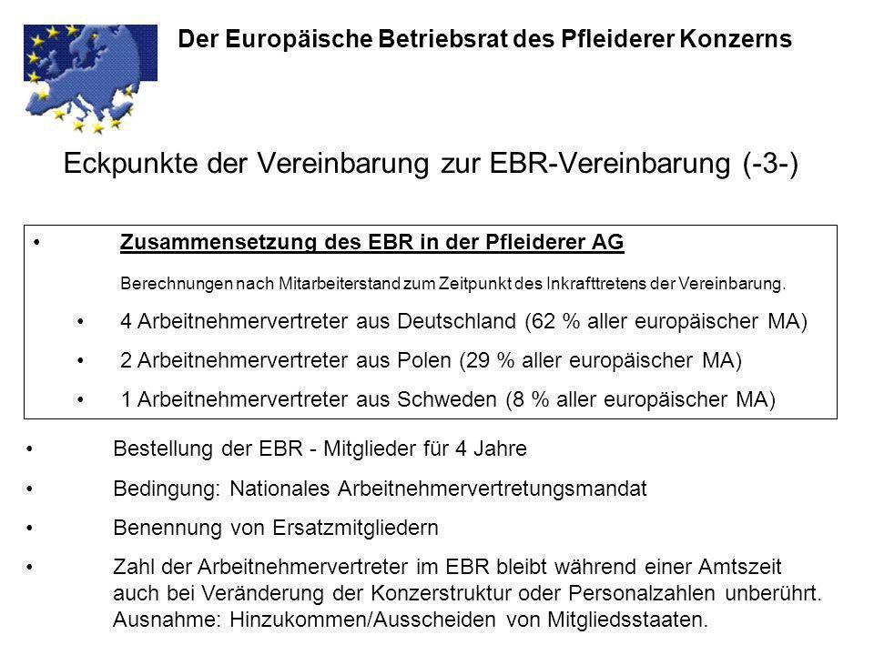 Eckpunkte der Vereinbarung zur EBR-Vereinbarung (-3-) Der Europäische Betriebsrat des Pfleiderer Konzerns Zusammensetzung des EBR in der Pfleiderer AG
