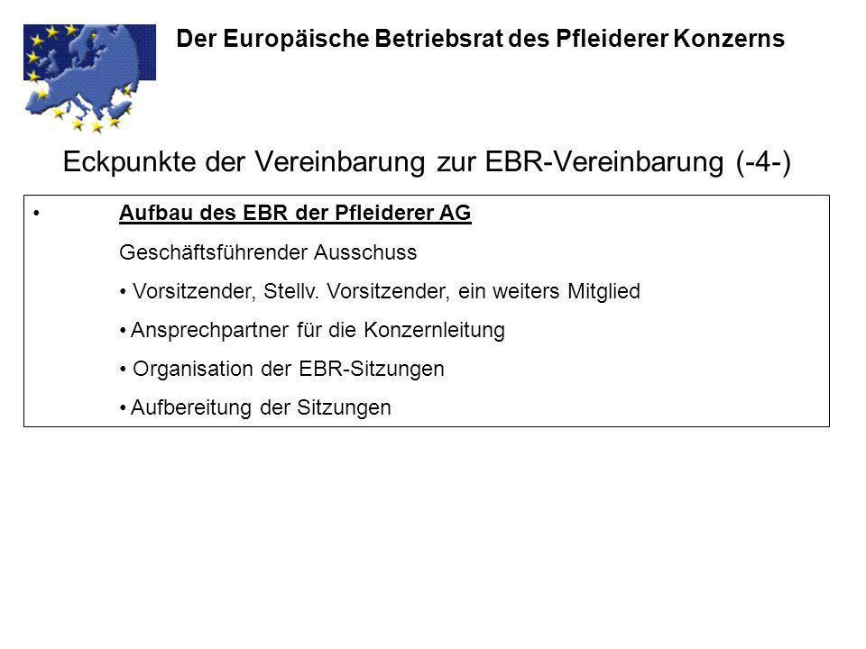 Eckpunkte der Vereinbarung zur EBR-Vereinbarung (-4-) Der Europäische Betriebsrat des Pfleiderer Konzerns Aufbau des EBR der Pfleiderer AG Geschäftsfü