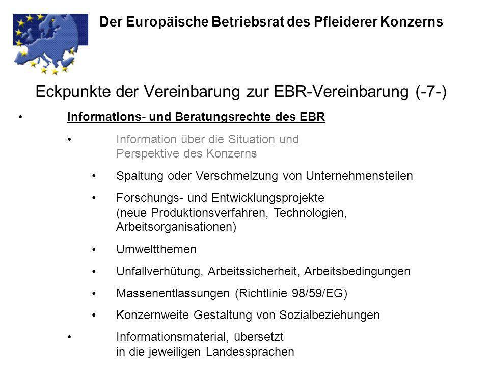 Eckpunkte der Vereinbarung zur EBR-Vereinbarung (-7-) Der Europäische Betriebsrat des Pfleiderer Konzerns Informations- und Beratungsrechte des EBR In