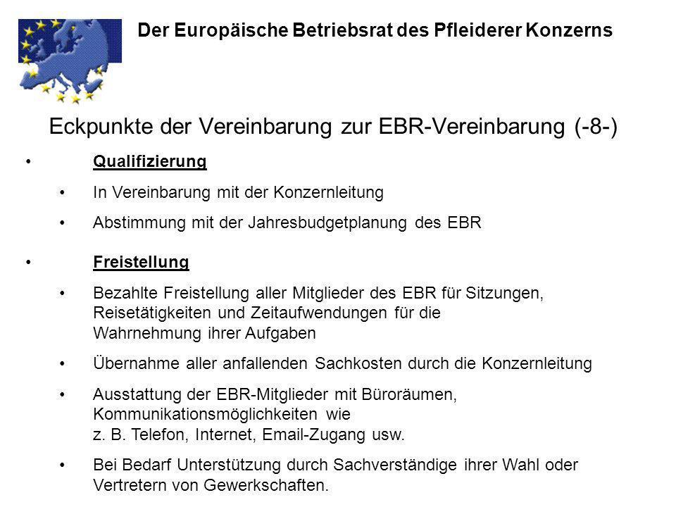 Eckpunkte der Vereinbarung zur EBR-Vereinbarung (-8-) Der Europäische Betriebsrat des Pfleiderer Konzerns Qualifizierung In Vereinbarung mit der Konze