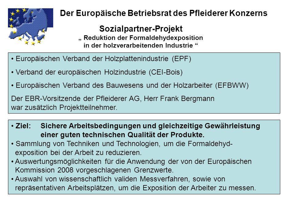 Sozialpartner-Projekt Reduktion der Formaldehydexposition in der holzverarbeitenden Industrie Der Europäische Betriebsrat des Pfleiderer Konzerns Euro