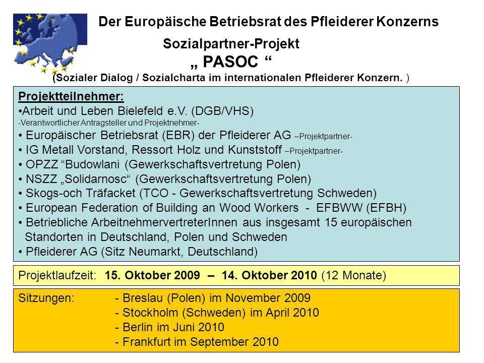 Sozialpartner-Projekt PASOC (Sozialer Dialog / Sozialcharta im internationalen Pfleiderer Konzern. ) Der Europäische Betriebsrat des Pfleiderer Konzer