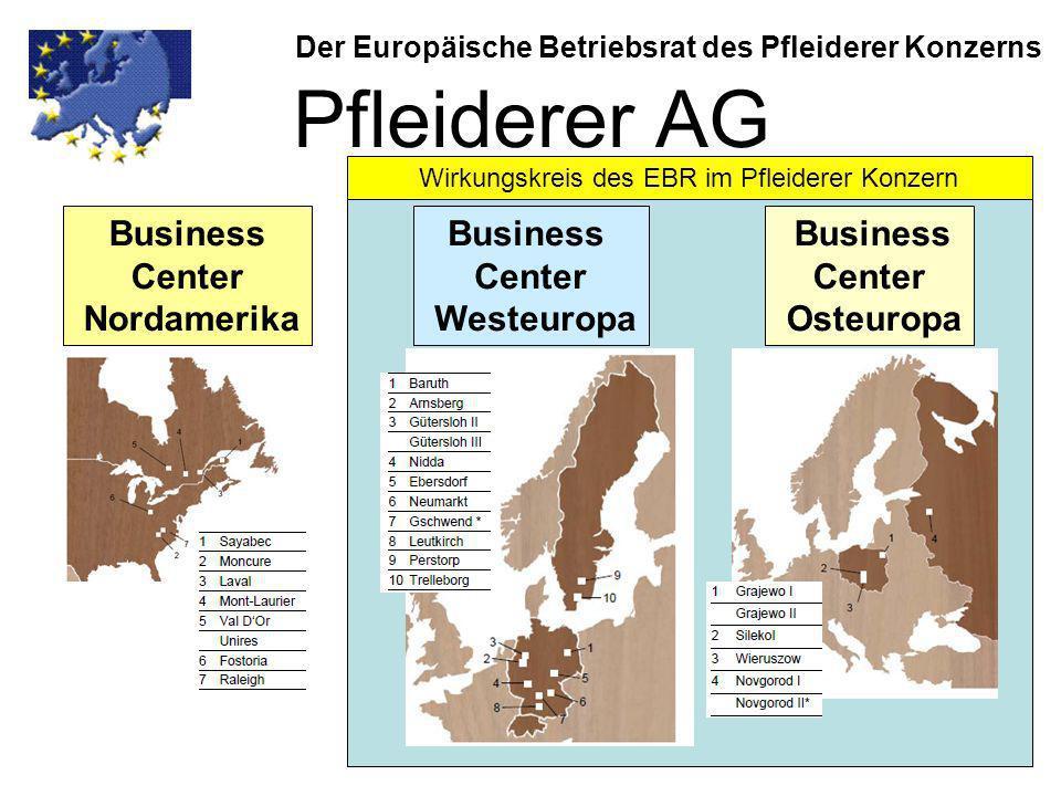Eckpunkte der Vereinbarung zur EBR-Vereinbarung (-2-) Der Europäische Betriebsrat des Pfleiderer Konzerns Zusammensetzung des EBR: Aus jedem Land, in dem die Pfleiderer AG Tochtergesellschaften hat mit mindestens 50 Arbeitnehmer (bei Produktionsstandorten mind.