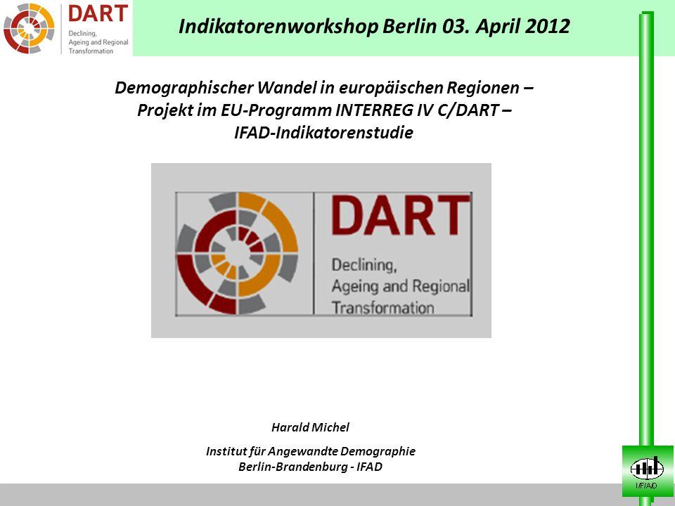 Projektansatz / Projektpartner Projektlaufzeit bis Dezember 2012 Demographischer Wandel (Schrumpfung und Alterung) auf kleinräumiger Ebene in ausgewählten Ländern der EU 11 Länder Europas /Projektpartner haben 13 Untersuchungsregionen innerhalb bzw.