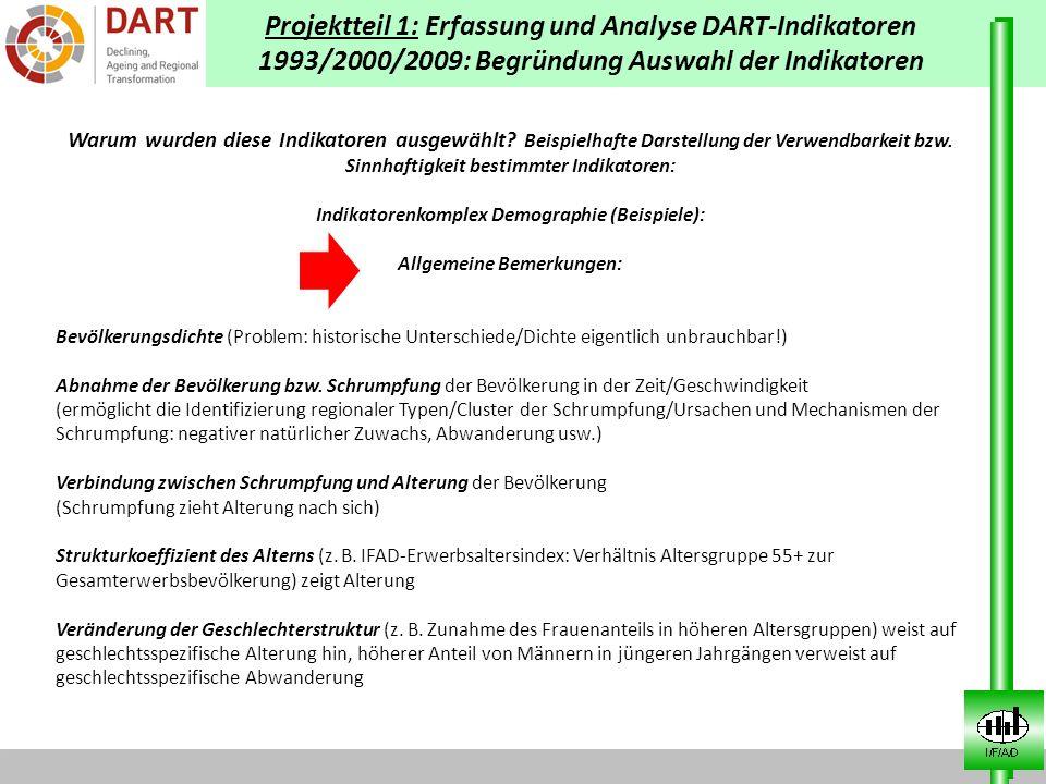 Projektteil 1: Erfassung und Analyse DART-Indikatoren 1993/2000/2009: Begründung Auswahl der Indikatoren Warum wurden diese Indikatoren ausgewählt? Be