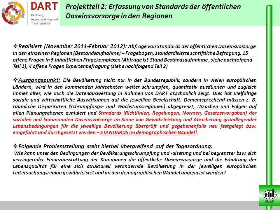Projektteil 2: Erfassung von Standards der öffentlichen Daseinsvorsorge in den Regionen Realisiert (November 2011-Februar 2012): Abfrage von Standards