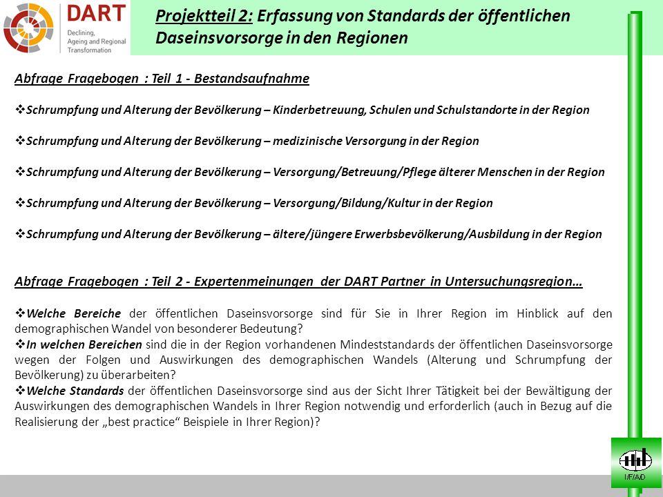 Projektteil 2: Erfassung von Standards der öffentlichen Daseinsvorsorge in den Regionen Abfrage Fragebogen : Teil 1 - Bestandsaufnahme Schrumpfung und