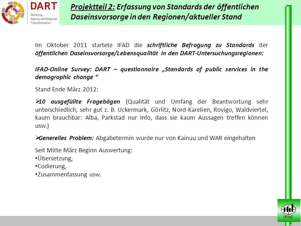 Projektteil 2: Erfassung von Standards der öffentlichen Daseinsvorsorge in den Regionen/aktueller Stand Im Oktober 2011 startete IFAD die schriftliche