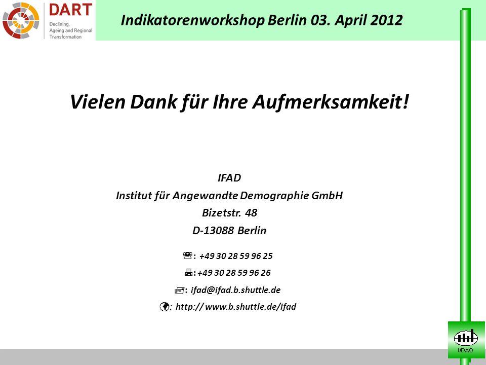IFAD Institut für Angewandte Demographie GmbH Bizetstr. 48 D-13088 Berlin Vielen Dank für Ihre Aufmerksamkeit! : +49 30 28 59 96 25 : +49 30 28 59 96
