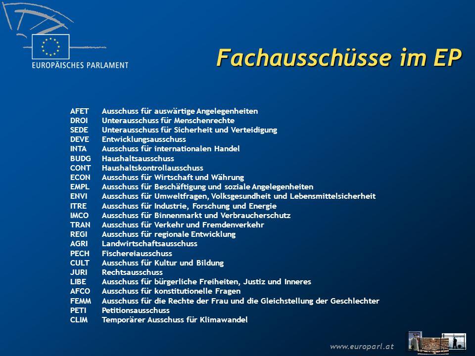 www.europarl.at Die Sitzverteilung im Europäischen Parlament insgesamt: 785 Sitze (bis 2009) Hans-Gert PÖTTERING Präsident des Europäischen Parlaments