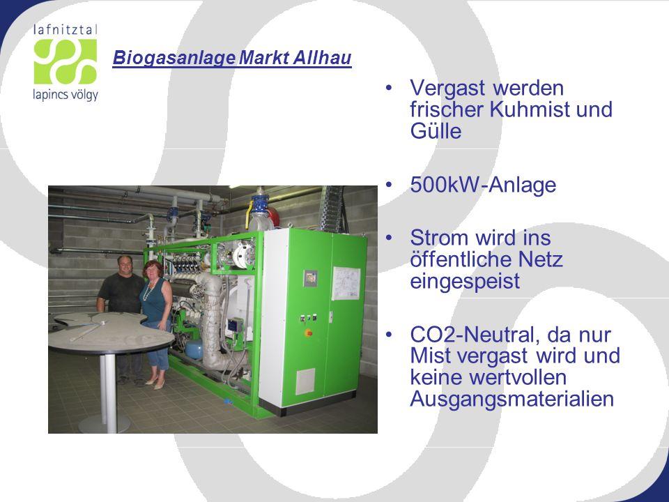 Biogasanlage Markt Allhau Vergast werden frischer Kuhmist und Gülle 500kW-Anlage Strom wird ins öffentliche Netz eingespeist CO2-Neutral, da nur Mist