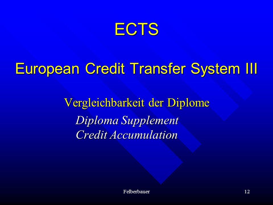 Felberbauer12 ECTS European Credit Transfer System III Vergleichbarkeit der Diplome Diploma Supplement Credit Accumulation