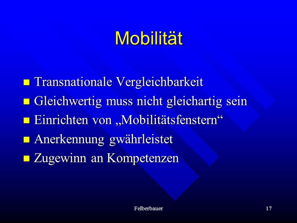 Felberbauer17 Mobilität Transnationale Vergleichbarkeit Transnationale Vergleichbarkeit Gleichwertig muss nicht gleichartig sein Gleichwertig muss nic