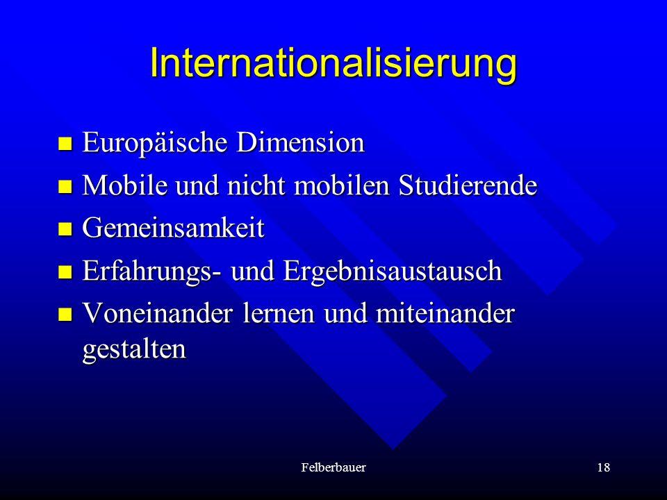 Felberbauer18 Internationalisierung Europäische Dimension Europäische Dimension Mobile und nicht mobilen Studierende Mobile und nicht mobilen Studiere