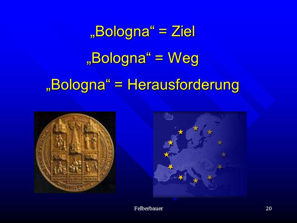 Felberbauer20 Bologna = Ziel Bologna = Weg Bologna = Herausforderung