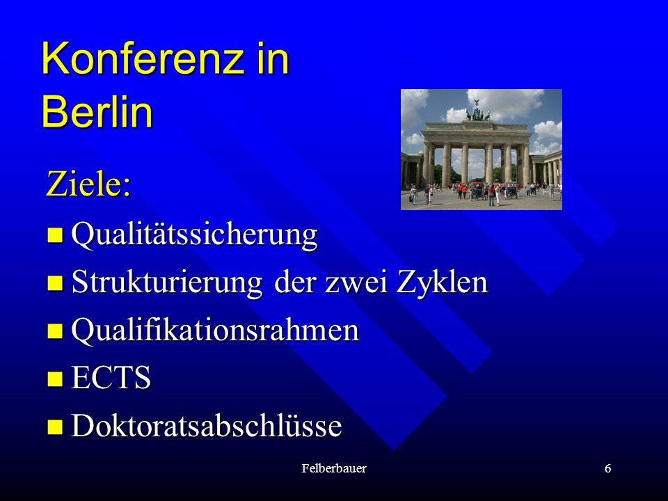 Felberbauer7 Konferenz in Bergen Ziele: Nationale Qualifikationsrahmen Nationale Qualifikationsrahmen Doppeldiplome (joint degrees) Doppeldiplome (joint degrees) Flexible Curricula Flexible Curricula Anerkennung von informellem Lernen Anerkennung von informellem Lernen