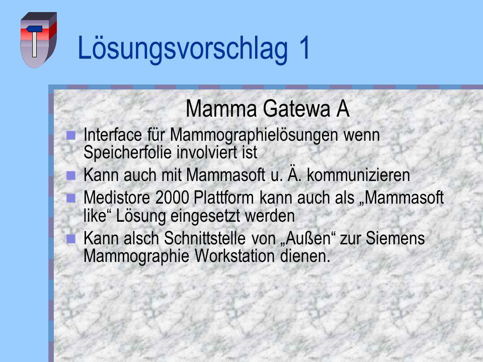 Lösungsvorschlag 1 Mamma Gatewa A Interface für Mammographielösungen wenn Speicherfolie involviert ist Kann auch mit Mammasoft u. Ä. kommunizieren Med