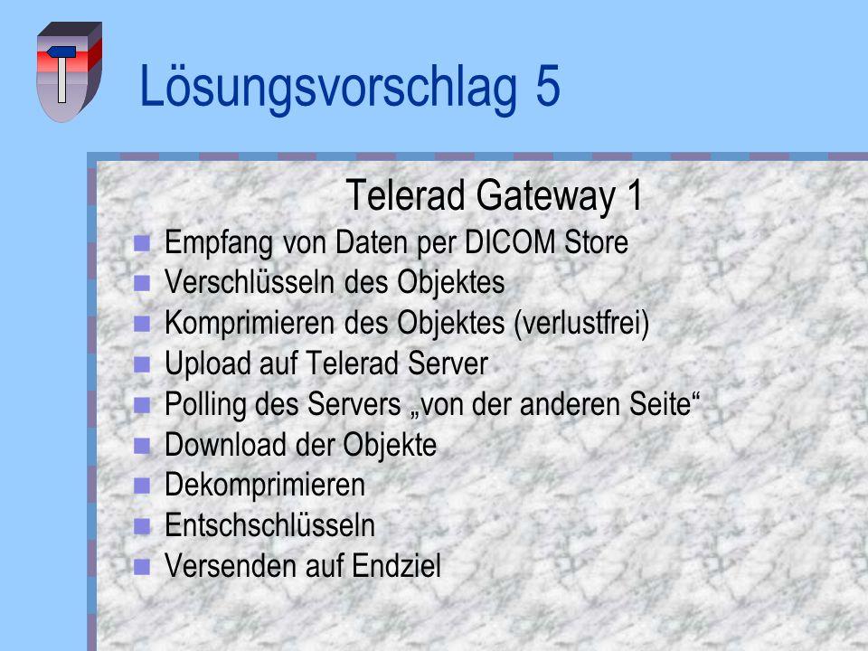 Lösungsvorschlag 5 Telerad Gateway 1 Empfang von Daten per DICOM Store Verschlüsseln des Objektes Komprimieren des Objektes (verlustfrei) Upload auf T