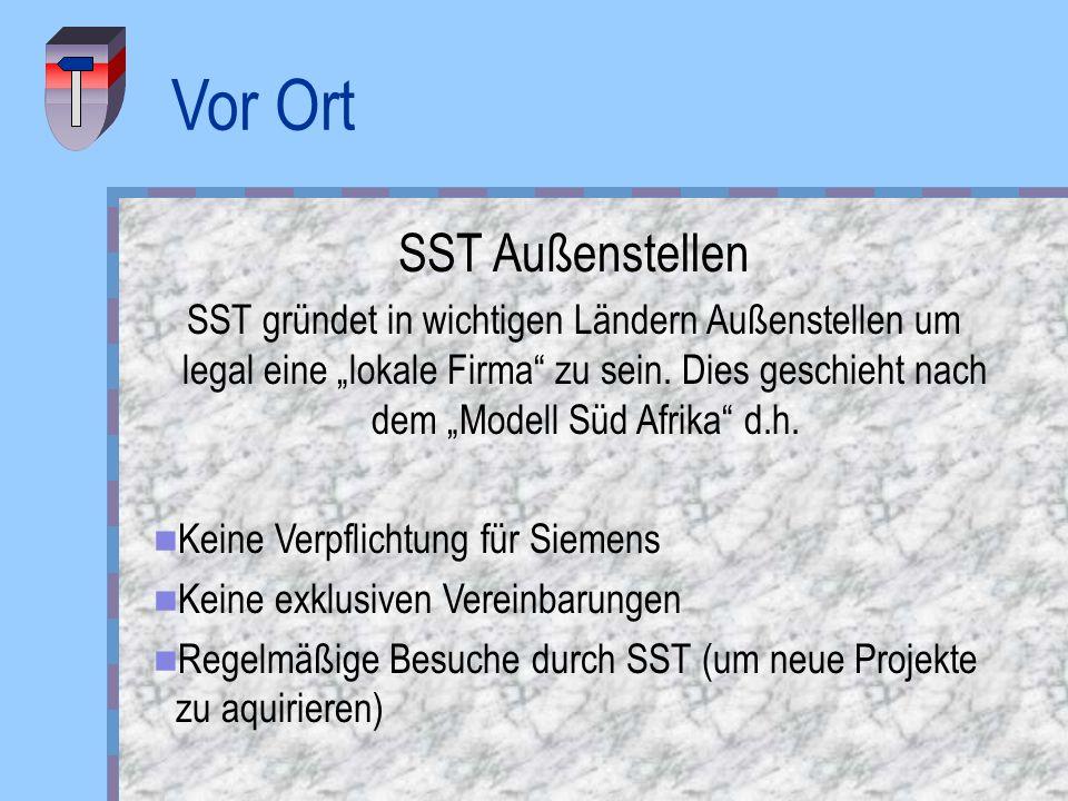 Vor Ort SST Außenstellen SST gründet in wichtigen Ländern Außenstellen um legal eine lokale Firma zu sein. Dies geschieht nach dem Modell Süd Afrika d