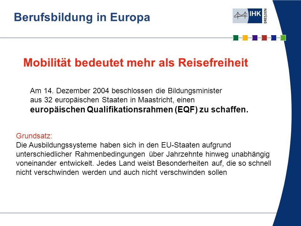 Berufsbildung in Europa Grundsatz: Die Ausbildungssysteme haben sich in den EU-Staaten aufgrund unterschiedlicher Rahmenbedingungen über Jahrzehnte hi