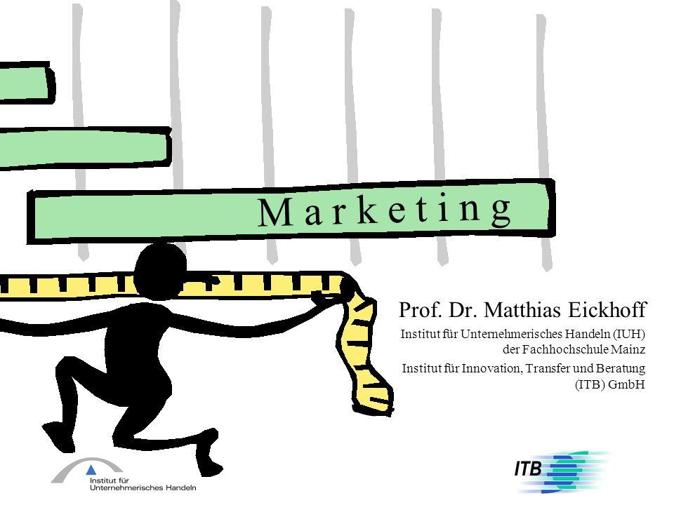 M a r k e t i n g Prof. Dr. Matthias Eickhoff Institut für Unternehmerisches Handeln (IUH) der Fachhochschule Mainz Institut für Innovation, Transfer